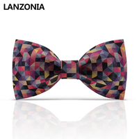 Lanzonia Designer Funny Colorful Plaid Print Mens Unique Patterned Bow Tie Women Fashion Novelty Bowtie Fancy Neckwear