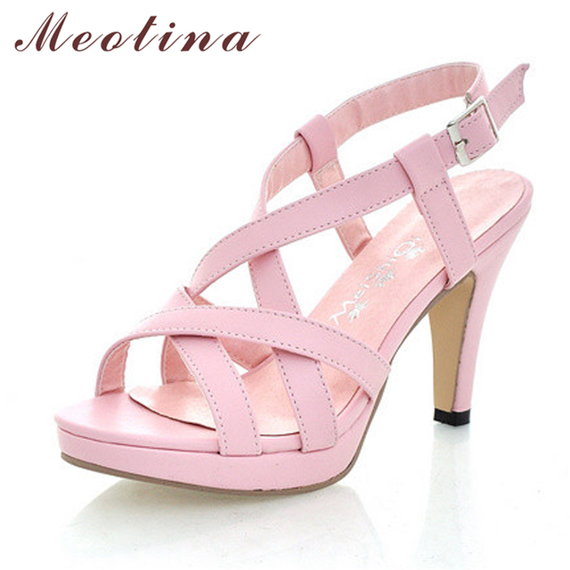 Meotina Women Sandals Gladiator Sandals Shoes Summer Platform Sandals Big  Size 10 42 High Heels Female Cutout Pink Ladies Shoes ce34e41a1997