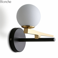 Modern Gold Led Wall Lamp Glass Ball Wall Light Mirror Lights for Living Room Bedroom Bedside Lamps Home Lighting Fixtures Decor