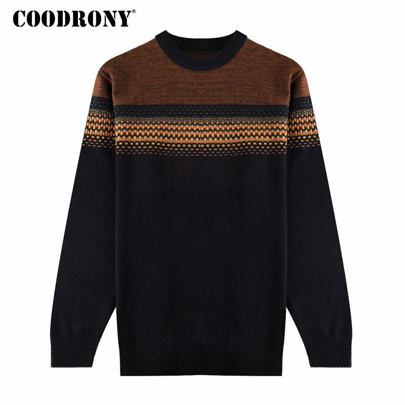 COODRONY Christmas Winter Thick Warm Merino Wool Sweater Men Knitted Cashmere Pullover Men Casual Striped O-Neck Pull Homme 7345