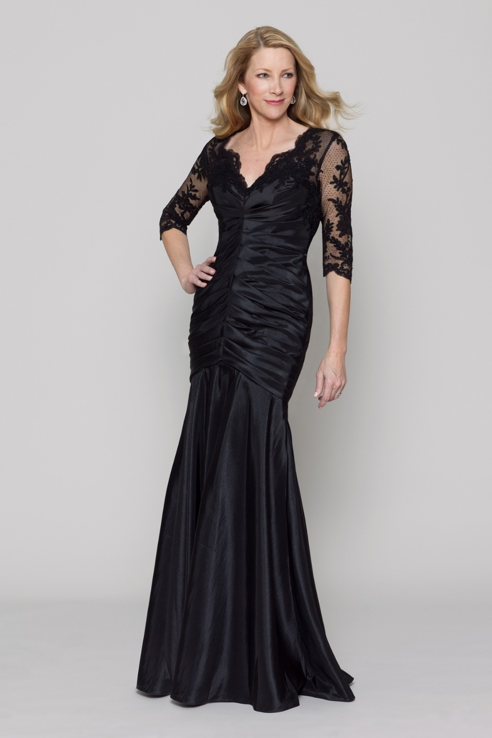 elegant satin mermaid black long train dress mother of the