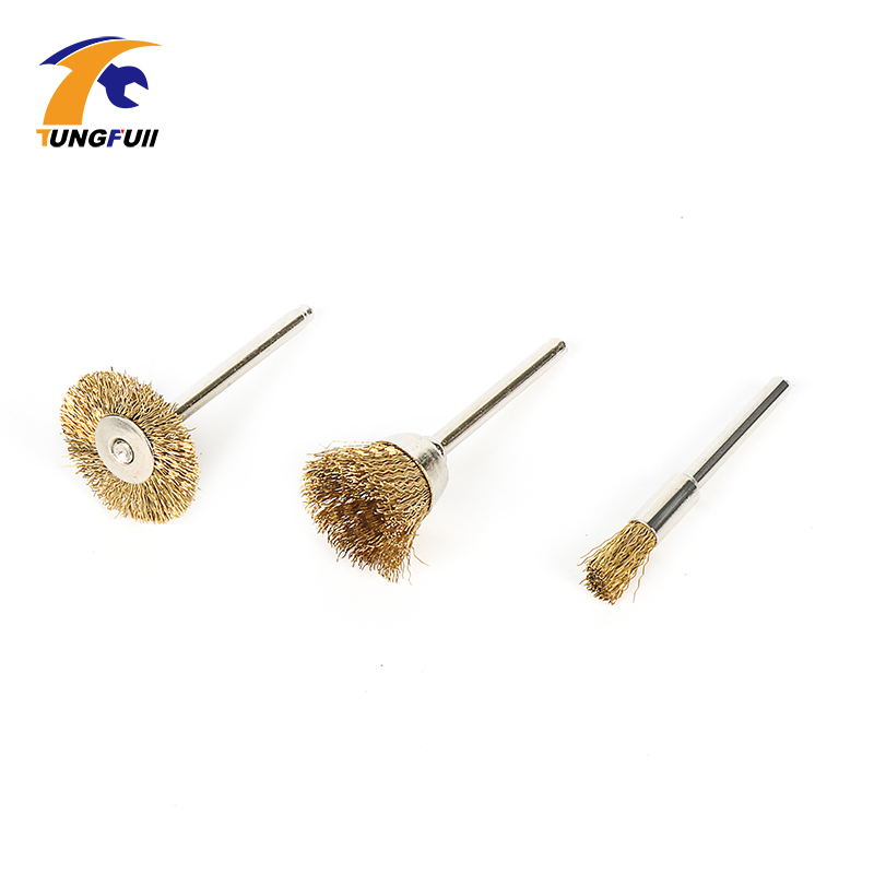 3pcs/set Brass Wire Brush Bit Soft Metal Gold Copper Brass For Electric Dremel Rotary Tools Dremel Accessories durable steel rod brass wire brush handle grinder deburring for wood steels root polished 8 in 1 copper wire wheel