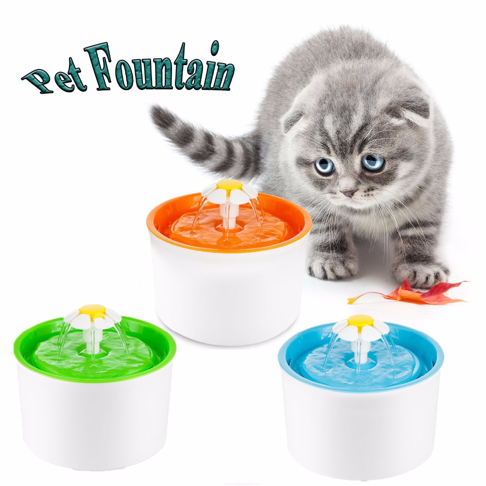 Fashion Automatic 1.6L Flower Style Dog Cat Kitten Water Drinking Pet Fountain Pet Bowl Drink Dish Filter Orange/Blue/Green цена