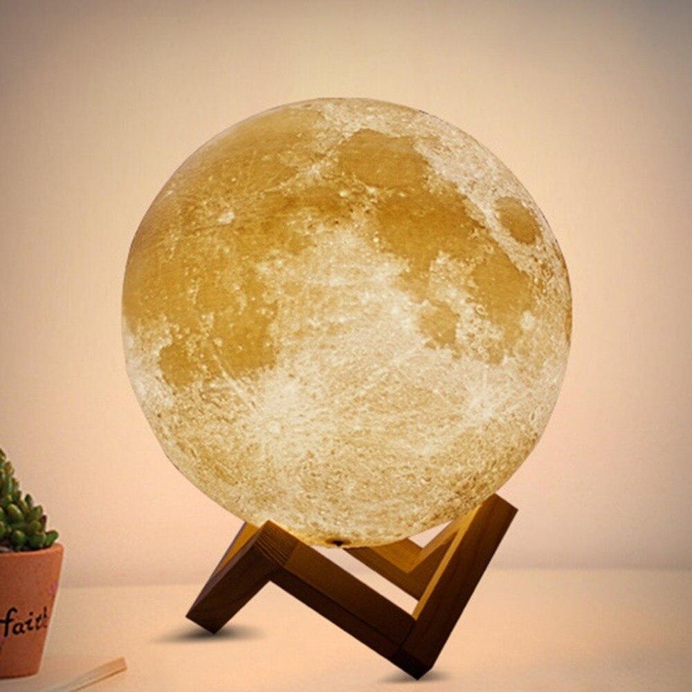 LED 3D Mond Nachtlicht Mondlicht Tischlampe für Schlafzimmer Wiederaufladbar NEU