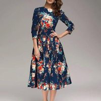 New Women Autumn A-Line Dress 2018 Casual Print O Neck Vintage Dress Half Sleeve Big Size Party Boho Midi Robe Dress