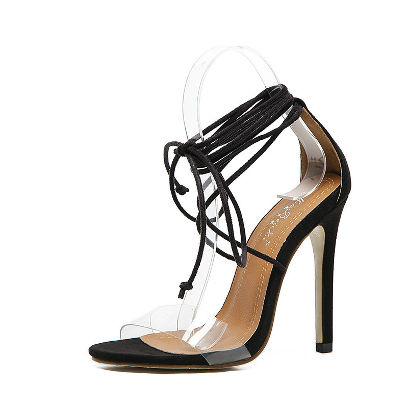 Women Gladiator Sandals Ankle Lace-Up High Heels Fashion Party Transparent PVC Narrow Band Shoes Elegant Cross-tied Ladies Pumps new 2015 fashion lace up women pumps summer ladies high heels shoes sandals casual gladiator sandals women shoes ladies