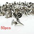 50 шт./компл. 7x10 мм серебряные конические Шипы и шипы для одежды отвертки DIY ремесло крутые панк заклепки для одежды для кожи/сумки/обуви