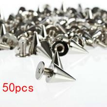 50 pçs/pçs/set 7x10mm prata cone parafusos e picos para roupas screwback diy artesanato legal punk rebites de vestuário para couro/saco/sapatos