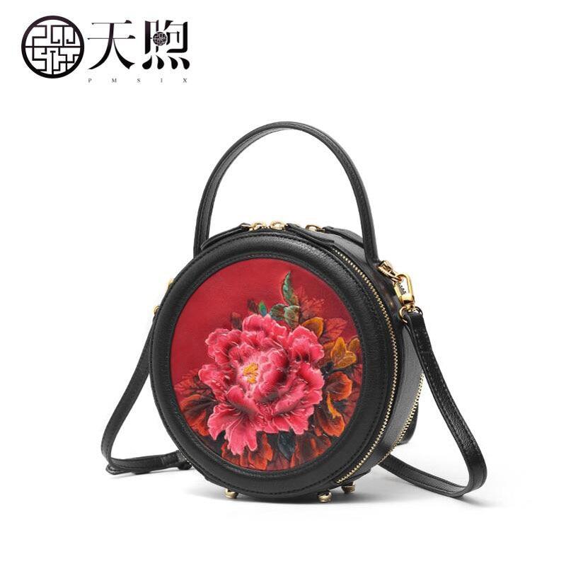 Pmsix nova pequena bolsa feminina 2019 novo saco Do Mensageiro de moda bolsa rodada retro redonda pequena bolsa de ombro bolsa