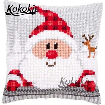 Bordado hecho a mano hilo juegos de costura de Navidad diy juego de punto de cruz venta funda de almohada bordado de tela cojín kits de cubierta