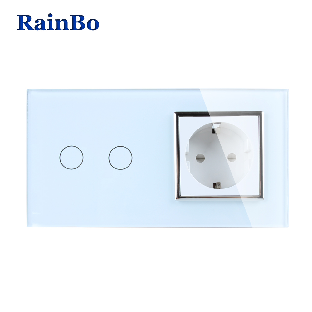RainBo Brand Luxury  Touch Screen Control Tempered crystal Glass Panel Wall Light  Touch Switch Socket Wall Socket  A29218ECW/B atlantic brand double tel socket luxury wall telephone outlet acrylic crystal mirror panel electrical jack