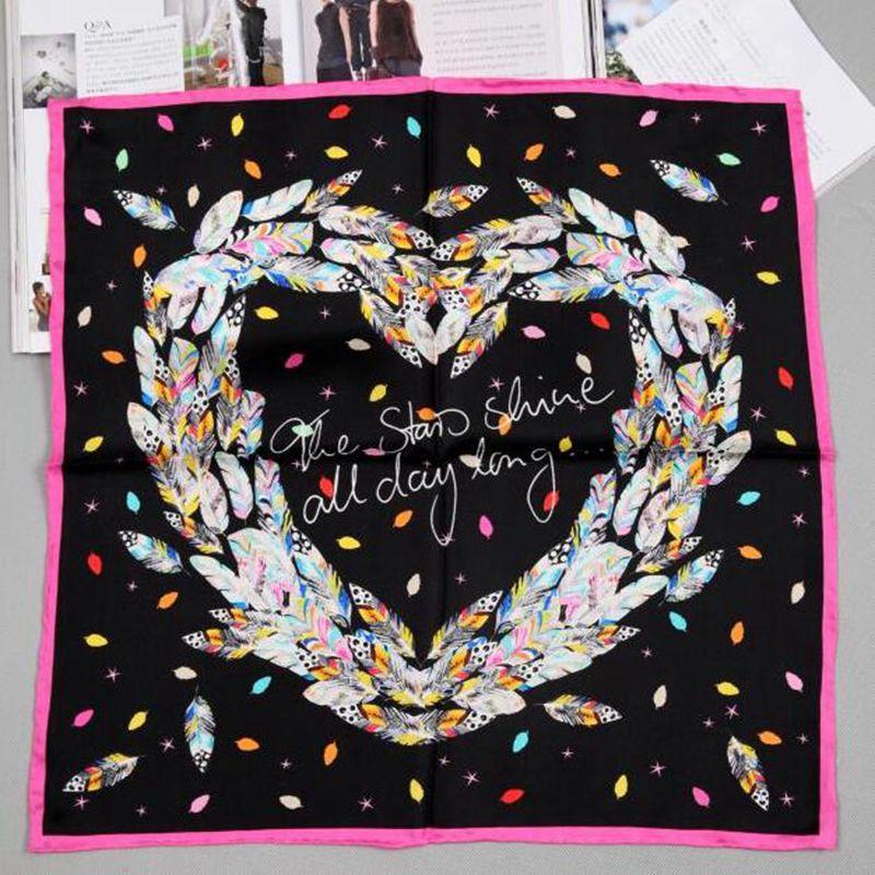 52x52cm Colorful Feathers Print Square Silk   Scarf   Women Ladies 100% Silk Twill   Scarves     Wraps   Necktie Fashion Accessories