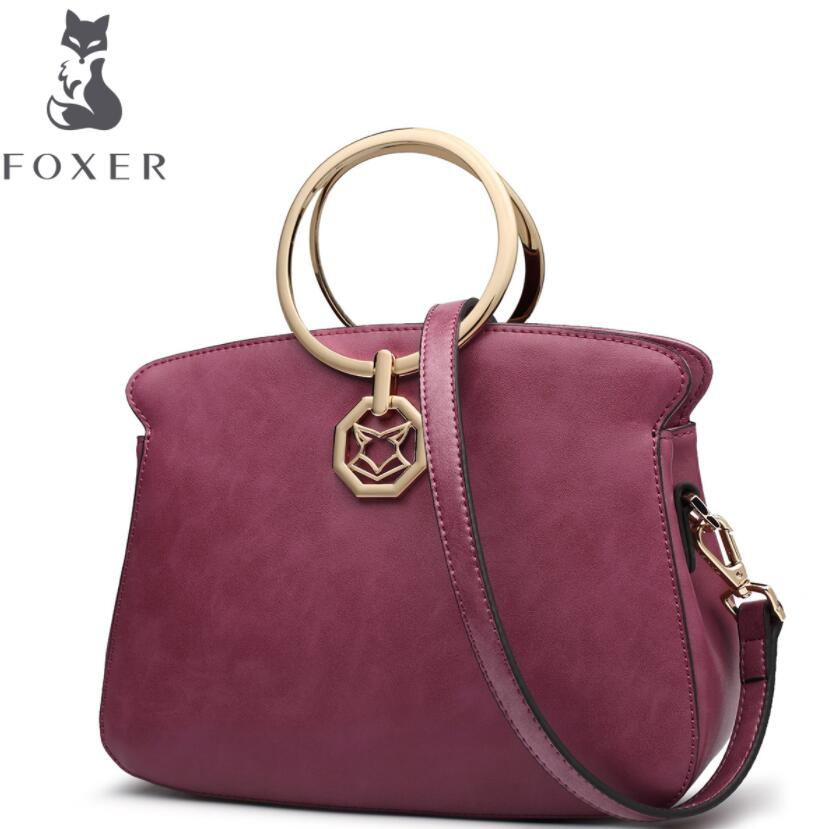 купить FOXER 2018 New quality women Leather handbags women famous brands designer fashion Retro tote bag women leather handbags по цене 5717.23 рублей