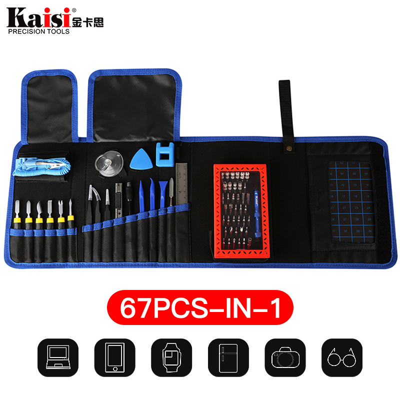 $32.14 Kaisi 67 in 1 Multi-function Tools Repair Mobile Phones bag for IPad iPhone X 8G 7 6s Repair tool kit
