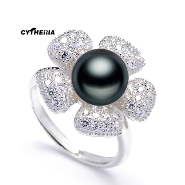 Adjule Pearl Wedding Rings Jewelry Natural Black White Freshwater For Women