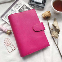 A6 Yiwi Cross Pattern Rose Red Genuine Leather Planner With Big P Spiral Sketchbook Snap Button Personal Diary Stationery Notebooks Education & Office Supplies -