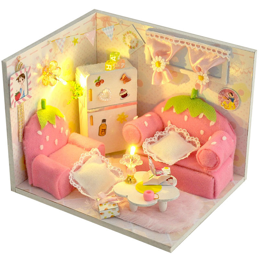 DIY Miniature Room Wooden Doll House Strawberry Candyfloss with Furniture LED Lights Dust Cover Dollhouse Toys for Children