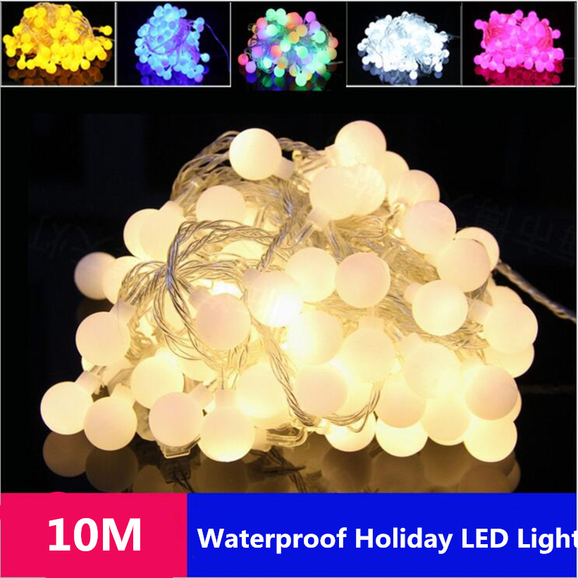 10M LED String Waterproof 220V 100LEDs Holiday Flash Round Bulb String Light for Wedding Christmas Festival Party Strip Light