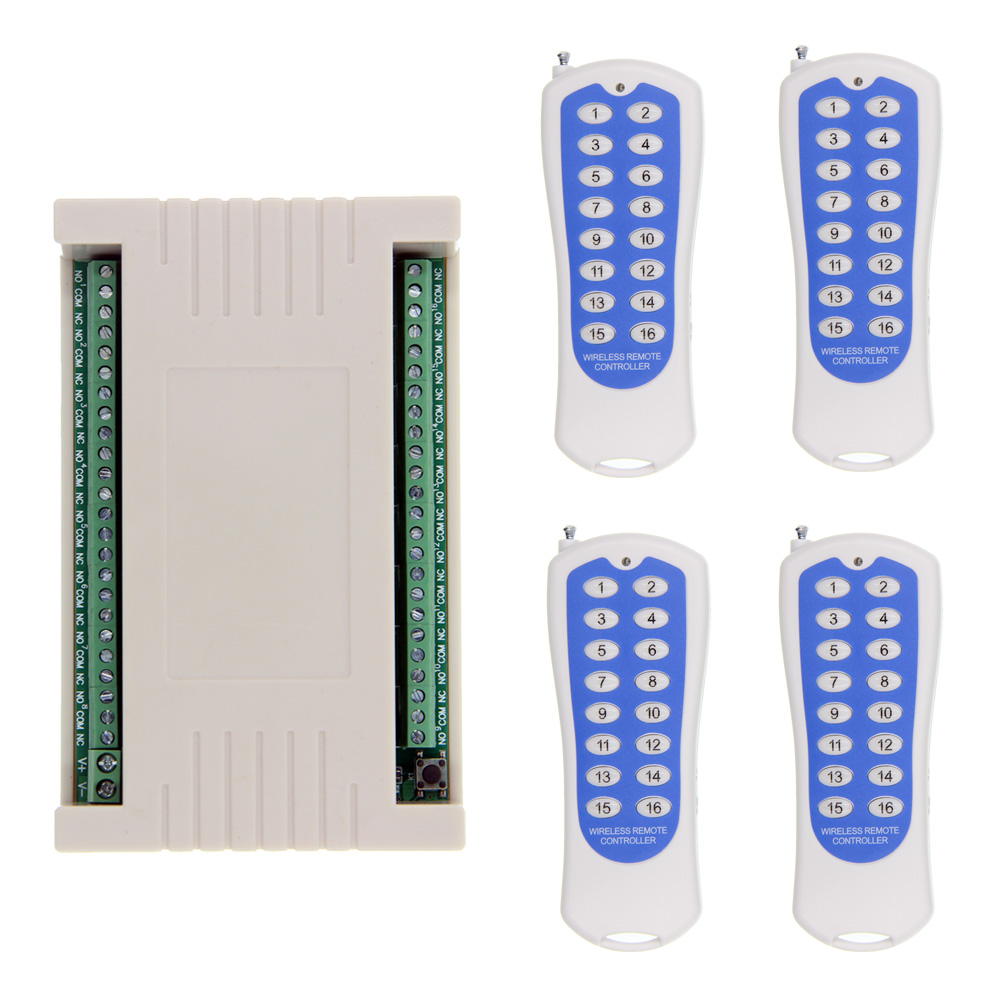 2018 NEW DC 12V 24V 16 CH Channels 16CH RF Wireless Remote Control Switch System, (4 Transmitter +1 Receiver),315/433.92 JOG dc24v 8ch rf wireless remote control switch 8 receiver