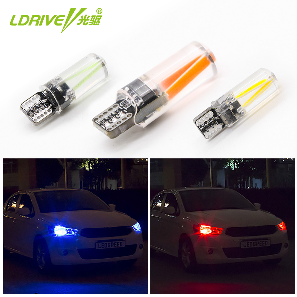 LDRIVE Canbus Error Free 12V 2.3W <font><b>LED</b></font> <font><b>T10</b></font> Silicone Bulb 3000K <font><b>4300K</b></font> 6000K <font><b>T10</b></font> Side Wedge Light Yellow Golden Warm White Red Blue image