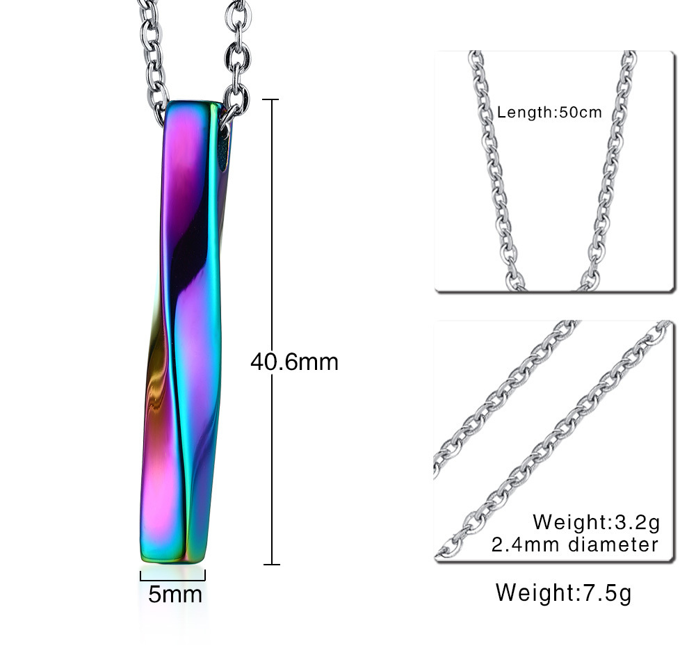 Twisted Stainless Steel Column Pendant Necklace