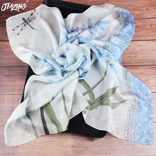 2019 New Trend Originality Dandelion Dragonfly silk scarf women Euramerican Printed Scarf Fashion 70*70 Bandana head wrap