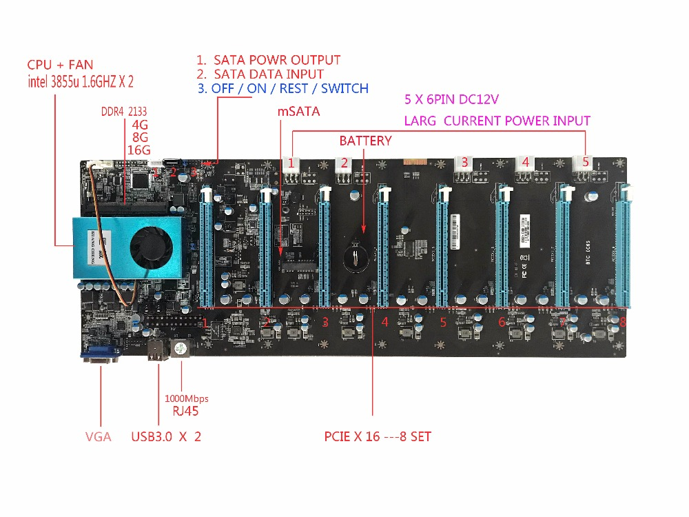 KUANGCHENG BTC IC6S Mining Motherboard 8 Graphics Cards Slots PCI Express 8 To 16x  For ETH Miner ETC ZEC  MINER MOTHERBOARD
