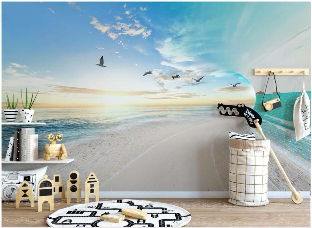 Custom mural 3d photo wallpaper Sea sky seagull landscape decoration painting 3d wall murals wallpaper for living room walls 3 d custom 3d photo wallpaper waterfall landscape mural wall painting papel de parede living room desktop wallpaper walls 3d modern