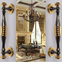 280mm Deluxe Fashion Modern Big Gate Door Handles Gold Wooden Door Pull Black Home KTV Office
