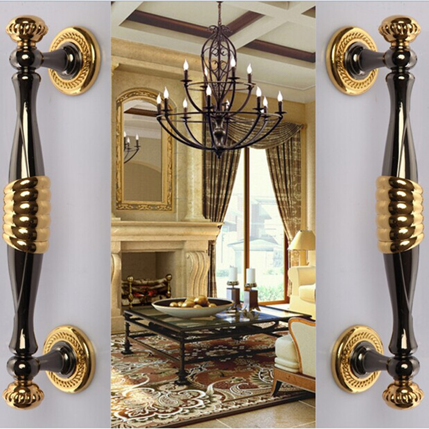 280mm deluxe fashion modern big gate door handles gold wooden door pull black home KTV office wooden door handles unfold install