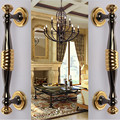 280mm luxo moda moderna grande portão porta de madeira lida com ouro porta puxar preto casa KTV escritório porta de madeira puxadores desdobrar instalar