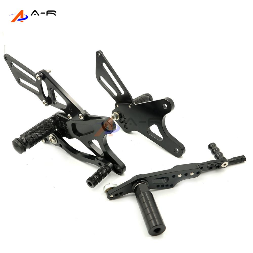 Black Motorcycle CNC Billet Adjustable Rearsets Footrest Foot Pegs Rear Sets Kit for Yamaha YZF R1 2009-2014 2013 2012 2011 2010 free shipping motorcycle parts silver cnc rearsets foot pegs rear set for yamaha yzf r6 2006 2010 2007 2008 motorcycle foot pegs