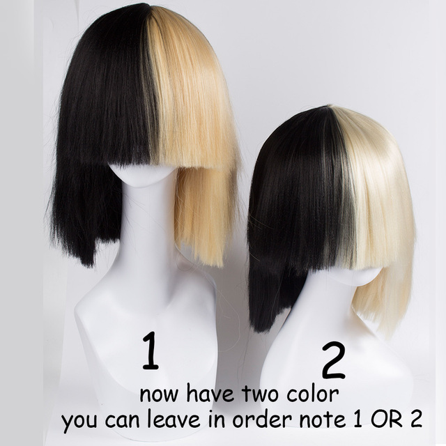 Blonde Sia wig Thick Blunt Bob Wig Top cosplay Women s Half Blonde and  Black 2 Tone Hair Short Straight Cosplay Costume Wig cb4ca3071