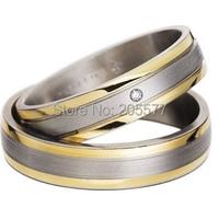 Ручной работы его и ее цвет золотистый здоровья кольцо titanium украшения обручальные кольца наборы для пары