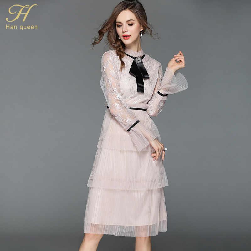 H Han reine femmes été plissé maille Patchwork dentelle robe de soirée dames mode élégante femme mince Sexy robes