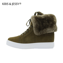 Genuine Leather Cow Suede Women Lace Up Snow Boots  Wool Plush Inside Warm Winter Woman Ankle Boots
