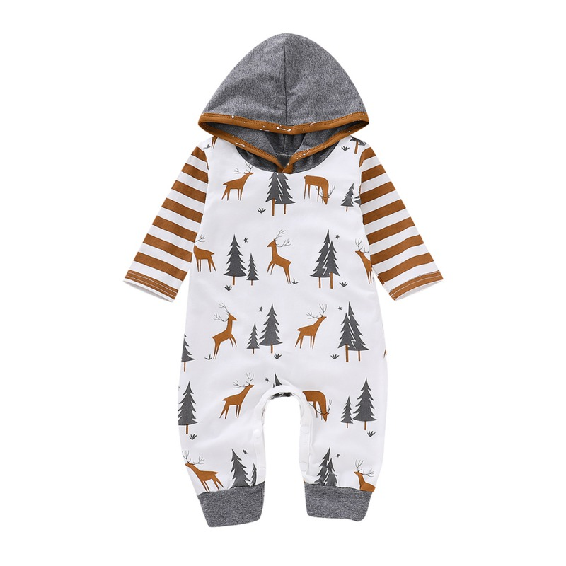 Christmas Baby Hooded Romper Cartoon Animal Warm Jumpsuit Clothing Infant Baby Boy Girl Clothes