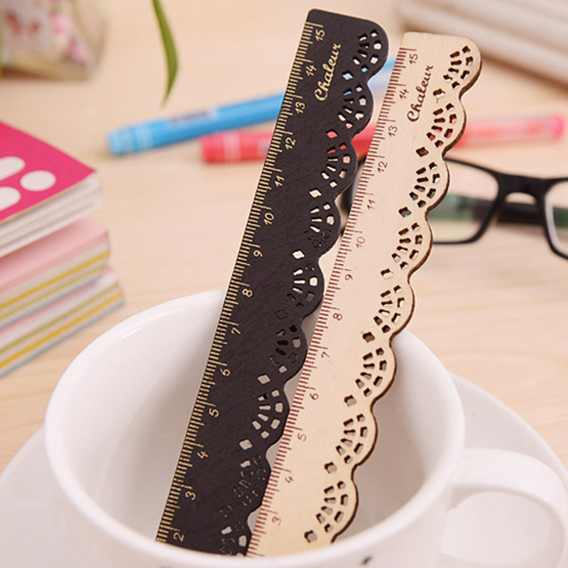 Cute Kawaii Vintage Sweet Lace Ruler Retro Sculpture Wood Drawing Ruler For Kids School Supplies Stationery Student 1314