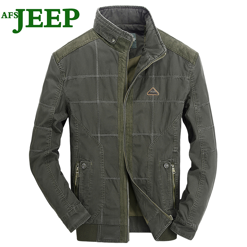 AFS JEEP 2017 New Fashion High Quality Lattice Spring Autumn Cotton Man Charm Men Jacket Personality Dress Military Color 135