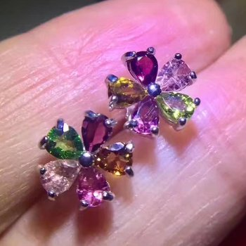 natural multicolor tourmaline stud earrings s925 silver Natural gemstone women romantic flowers stud earrings for party