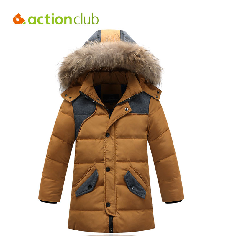 Actionclub Children Winter Duck Down Jacket Kids Warm Thicken Coat Teenage Boys With Fur Hooded Clothes Long Outerwear Parkas boys winter jacket cotton padded fur collar hooded long kids outerwear coat thicken warm boy winter coat children clothing