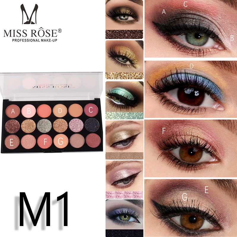 Brand Miss Rose 12 color eye shadow 6 flash powder gold cong Glitter eyeshadow palette make up