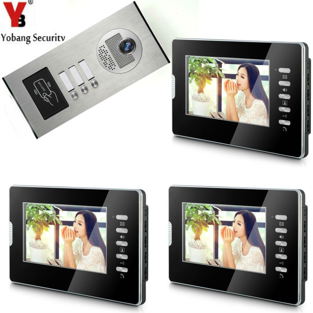 YobangSecurity 3 Unit Apartment 7-Inch Video Video Intercom Home Video Door Phone Doorbell Intercom RfID Access Control System.