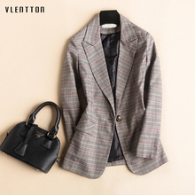 2019 Vintage Women's Jacket Blazer Single Button Long Sleeve Plaid Office Blazer Women Spring Houndstooth Suit Coat Plus Size men houndstooth single button blazer
