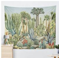 Green plants hangign wall cloth decorative cactus tapestry tarpaulin living room tent blanket wall background decor