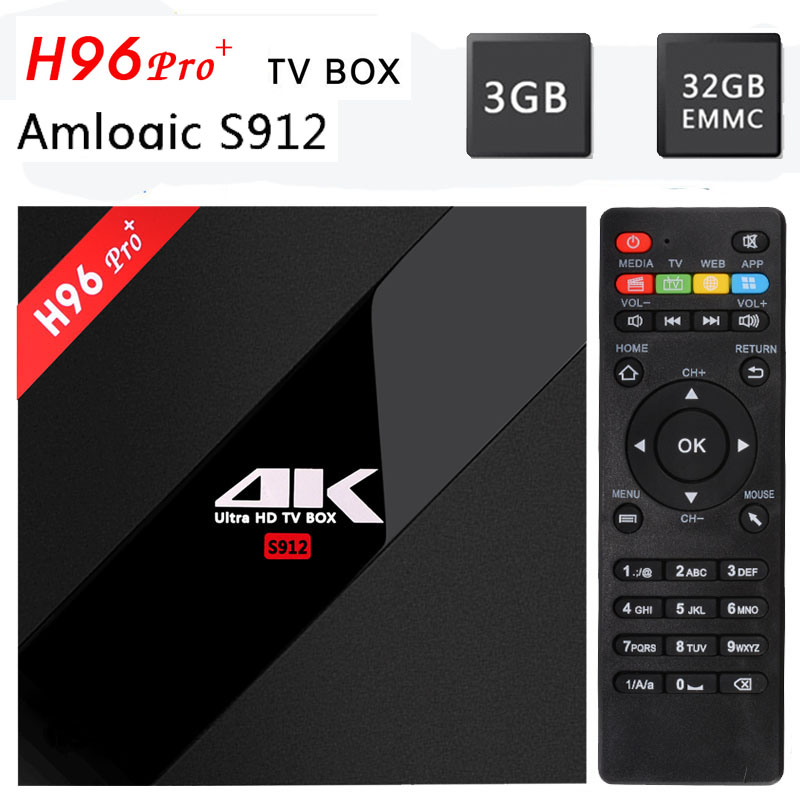 [Véritable] H96Pro plus Android 7.1 TV Box Amlogic S912 64bit Octa Core 3g/32g WiFi 2.4g/5.8g BT4.1 H.265 4 k * 2 k UHD media Player