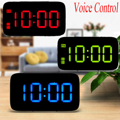 "Large LED Digital Alarm Snooze Clock Voice Control Time Display 5/"" ScreenNew"