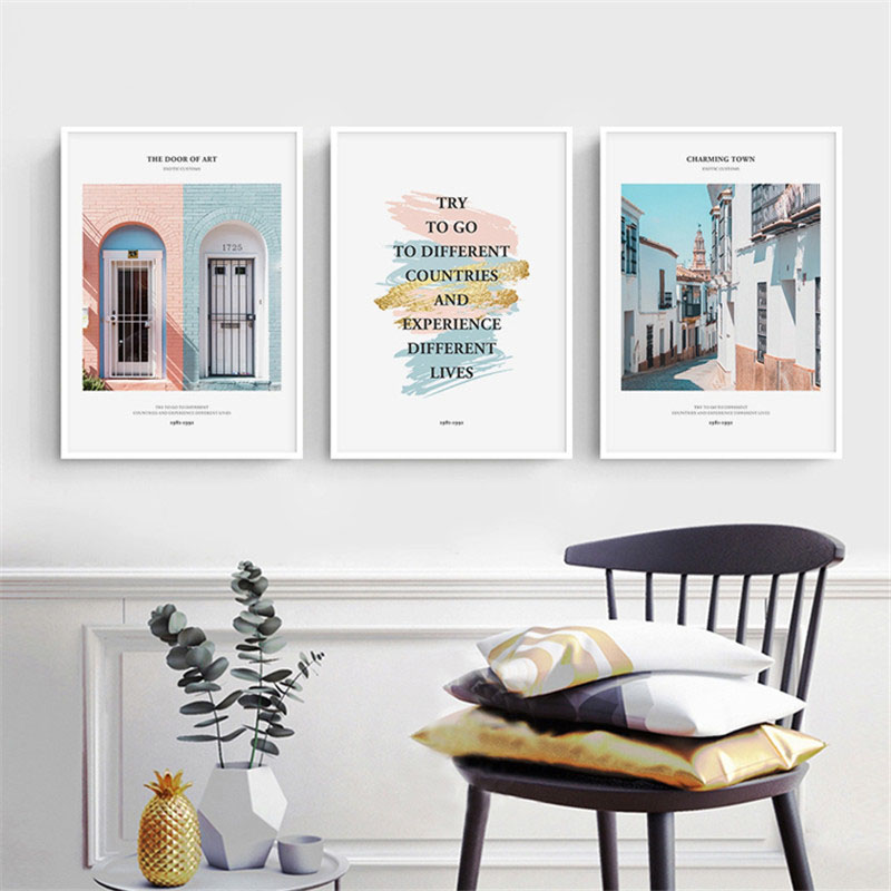 HAOCHU Nordic Decorative Painting Modern Small Towns Landscape Character Colorful Personality Home Living Room Bedroo Poster Art image