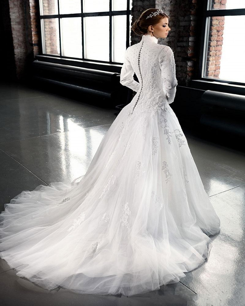 Custom Muslin Wedding Dress High Collar Lace Beading Long Sleeve Bridal White Court Train Arabic Mariage In Dresses From