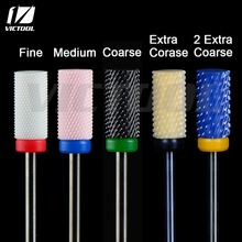 Victool 5 Colors 6 Sizes Available Ceramic Nail Bit Professional Nail Art File Tool For Electric Drill Manicure Pedicure Machine